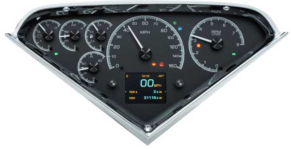 1955 2nd-1959 Chevrolet Truck HDX Instrument Gauge Cluster - Black Alloy Face