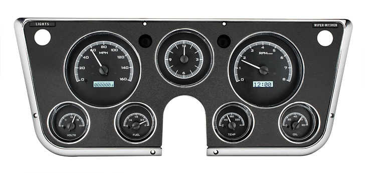 1967-1972 VHX Black/White Display Gauges (Dispaly, Analog Style Clock) Free Shipping