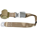 Universal Tan Retractable Lap Belt with Aviator Buckle