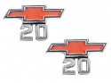 1967-1968 Chevrolet C20 Front Fender Emblems with Bowtie, Pair - GM Truck