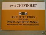 1974 Owner's Manual Chevrolet - Truck