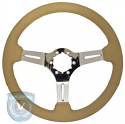 STEERING WHEEL  TAN LEATHER CHROME