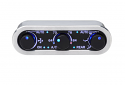 DCC Digital Climate Control - Vintage Air Gen IV - 3-Knob - Horizontal, Satin, Silver Alloy, Blue Display