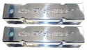 SBC Polished aluminum valve covers with Chevy Bowtie Emblem