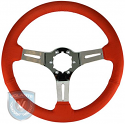 STEERING WHEEL  RED LEATHER CHROME