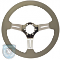 STEERING WHEEL  GREY LEATHER CHROME