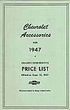 1947 Accessories List Car and Truck - Chevrolet