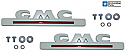 1947 - 1954 GMC Truck Hood Side Emblems, Pair - GM Truck