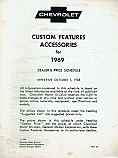 1969 Accessories List Car and Truck - GM