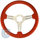 STEERING WHEEL  RED LEATHER BRUSHED